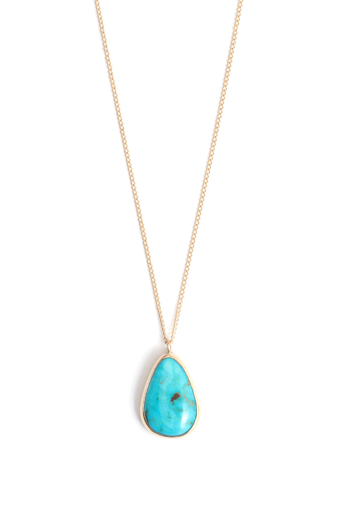 Bezel set Nacozari turquoise necklace