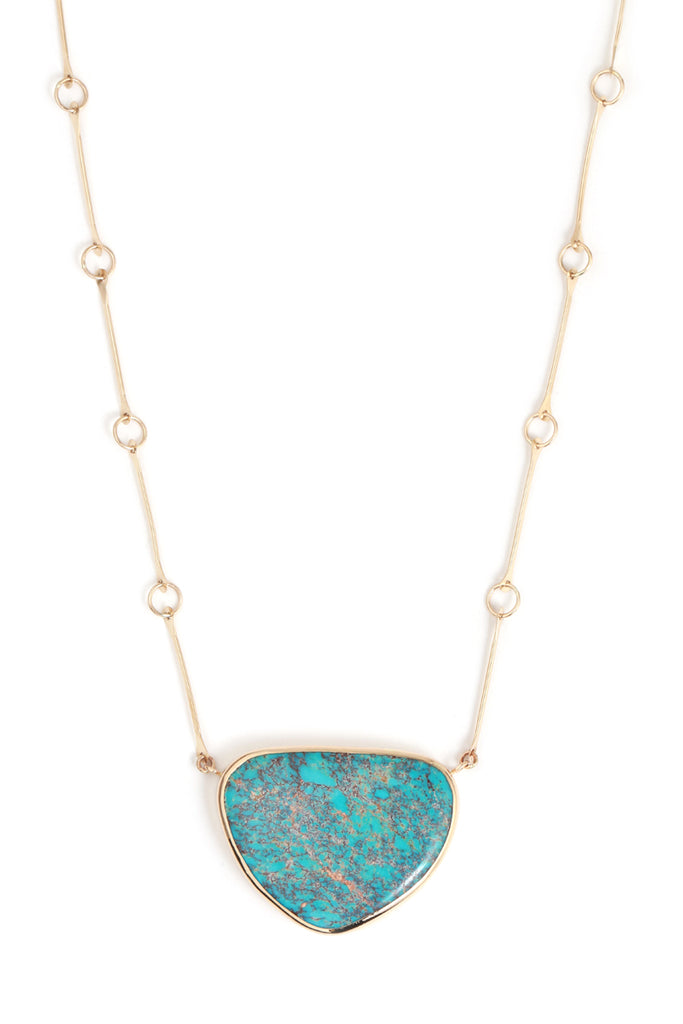 Sleeping Beauty Turquoise bone chain necklace