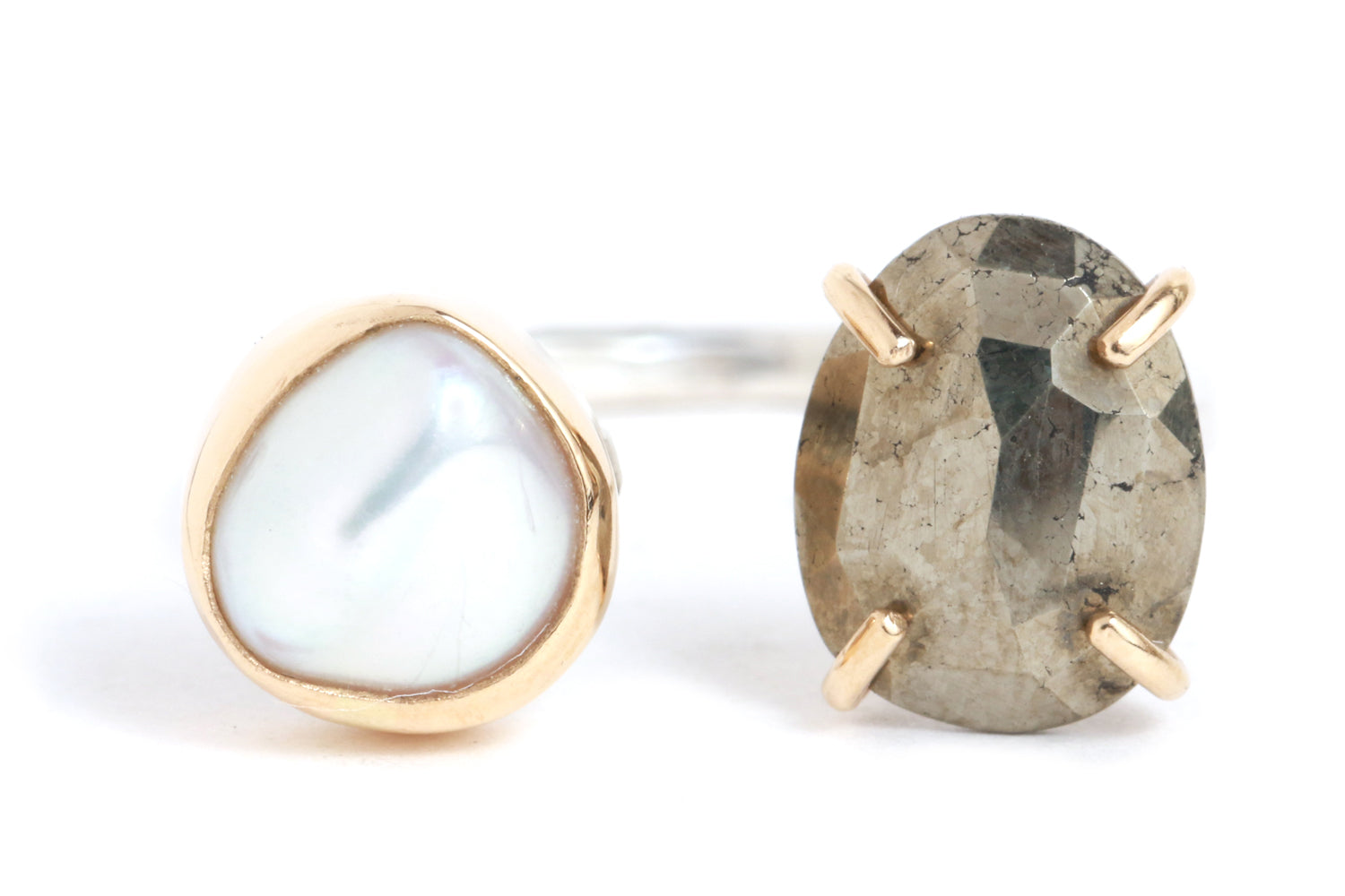Pyrite and Pearl Double Ring