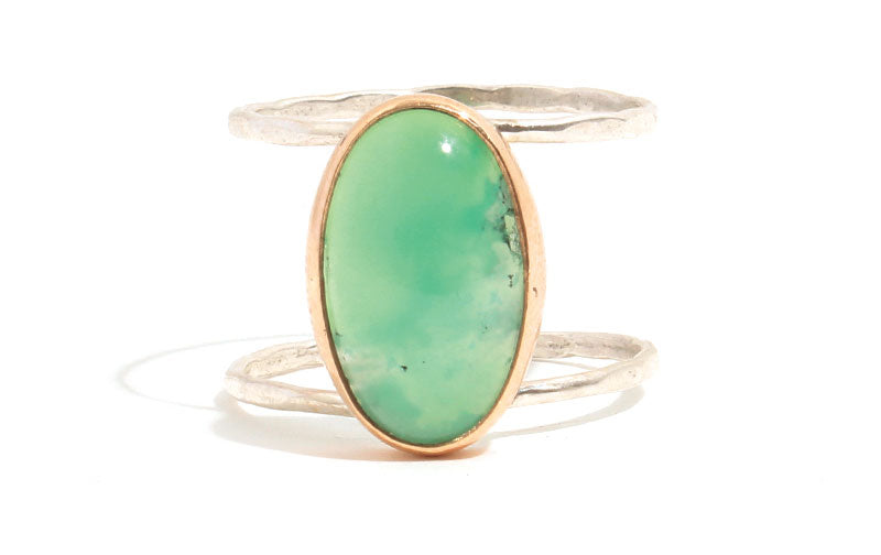 Double band chrysoprase oval ring