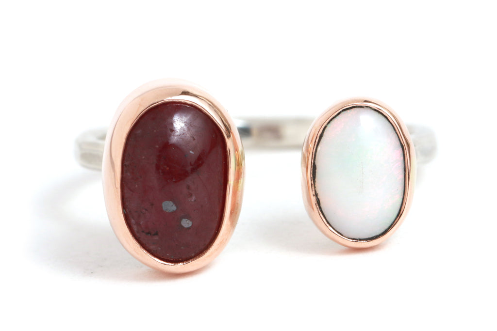 Ruby and Opal Double Ring