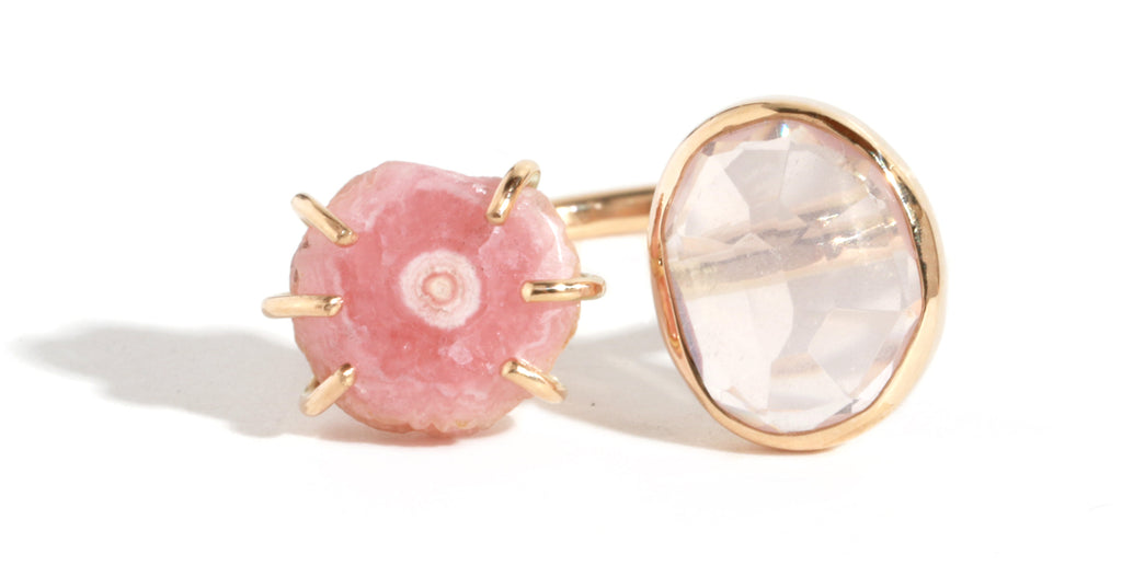 Rose Quartz and Rhodocrosite Double Ring