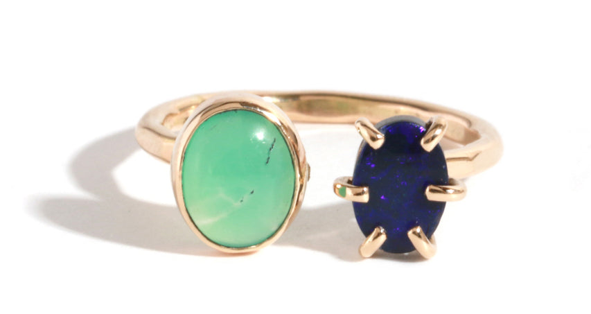 Opal and Chrysoprase Double Ring - Melissa Joy Manning Jewelry