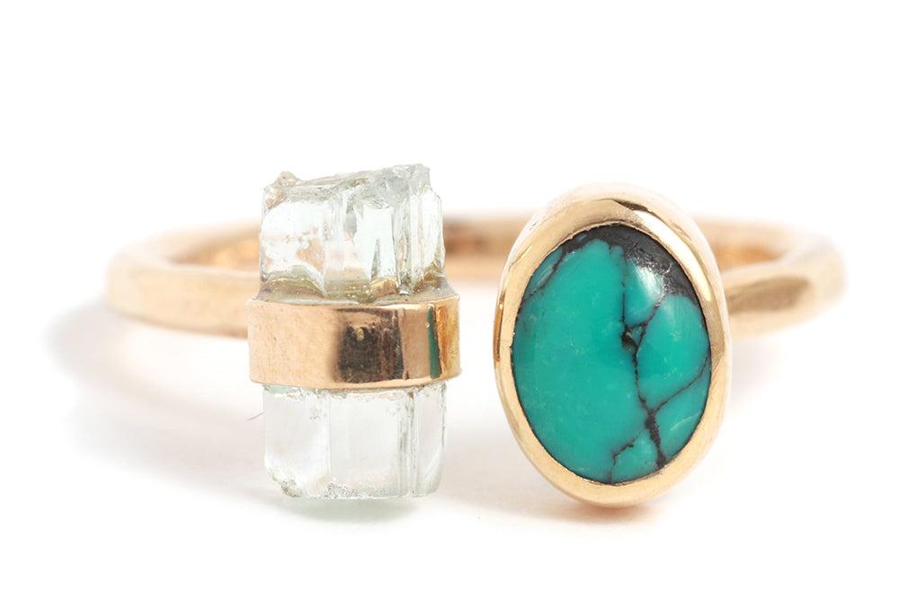 Aquamarine and Turquoise Double Ring