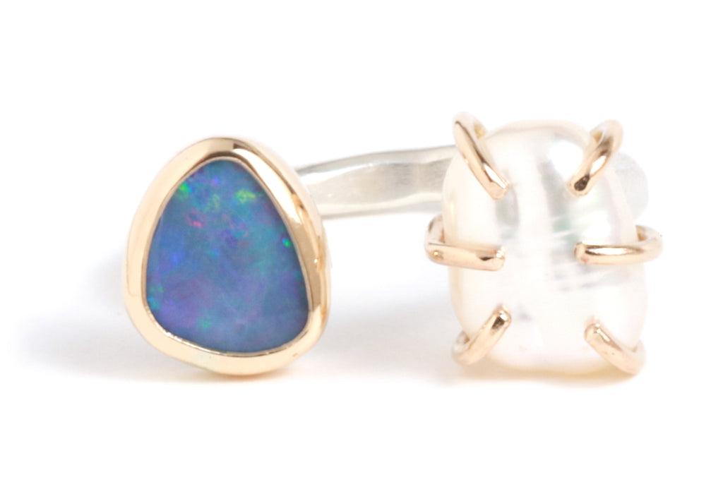 Opal and Pearl Double Ring