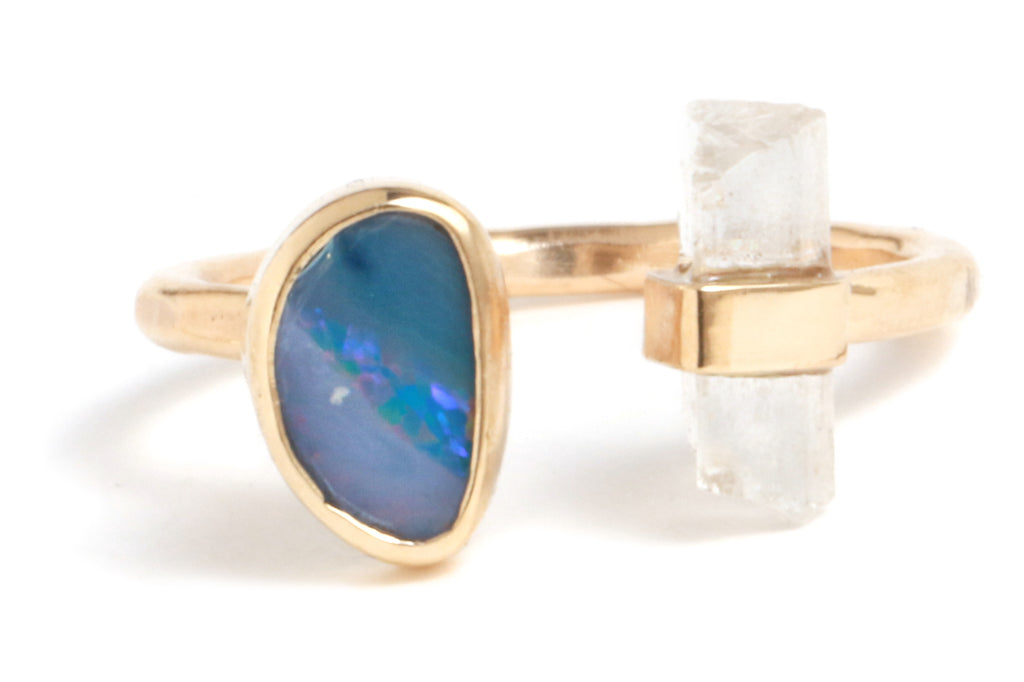 Opal and Hamergite Double Ring