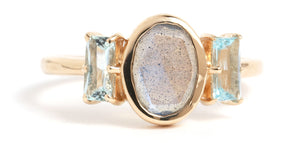 Labradorite and Aquamarine Triple Stone Ring - Melissa Joy Manning Jewelry
