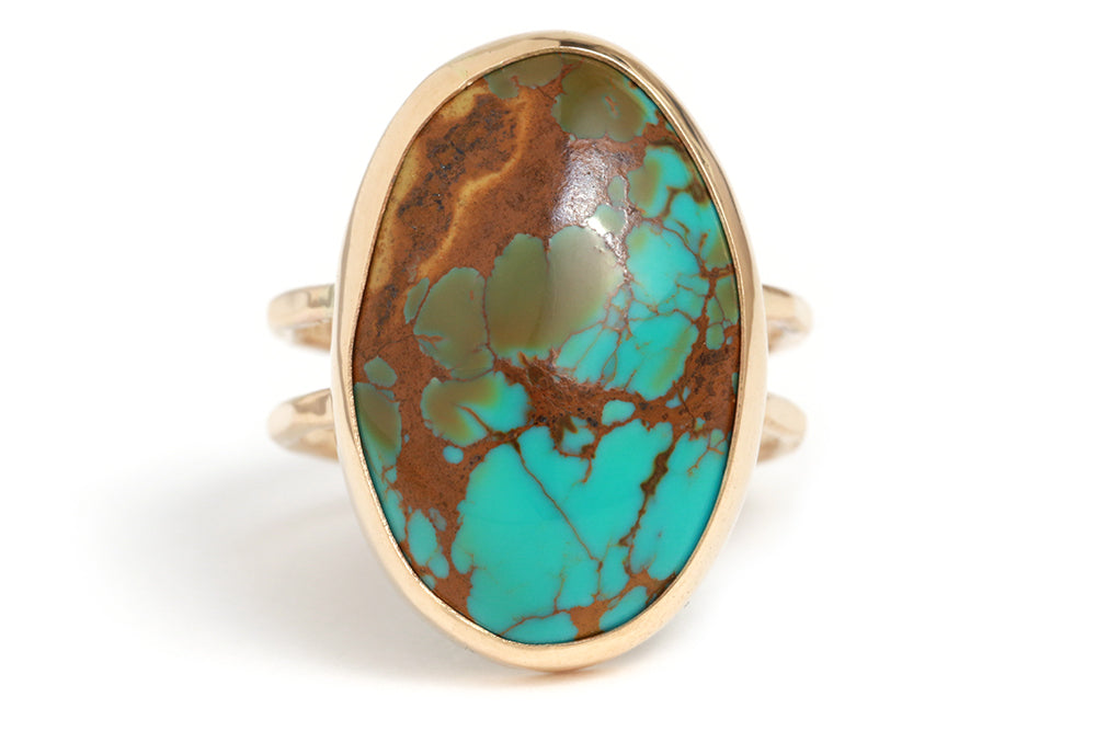 Kingman Mine Turquoise Double Band Ring - Melissa Joy Manning Jewelry