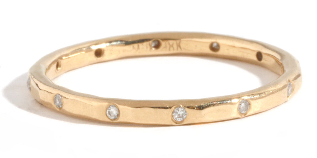 12 White Diamond Band - 18 Karat Yellow Gold - Melissa Joy Manning Jewelry