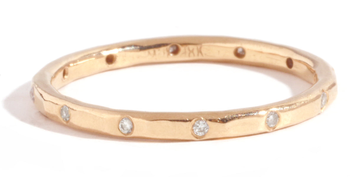 12 White Diamond Band - 18 Karat Rose Gold - Melissa Joy Manning Jewelry