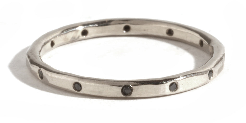 12 Black Diamond Band - 18 Karat White Gold - Melissa Joy Manning Jewelry