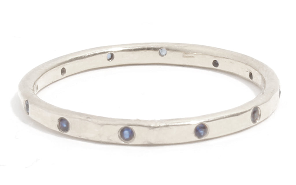 12 Blue Sapphire Band - 18 Karat White Gold - Melissa Joy Manning Jewelry