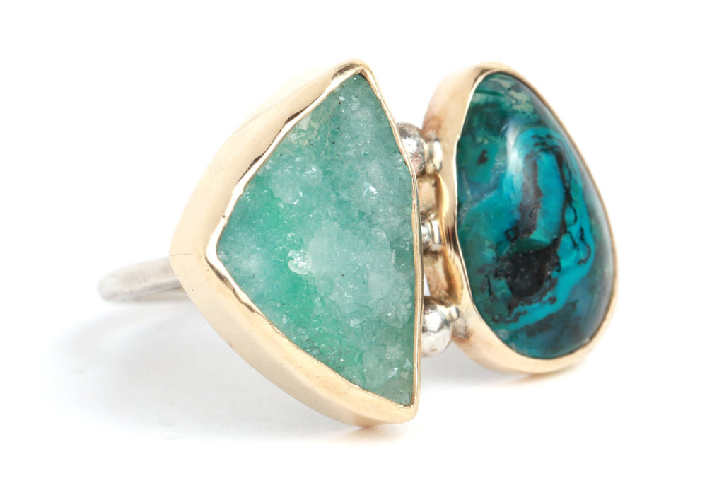 Chrysocolla Double Ring - Melissa Joy Manning Jewelry