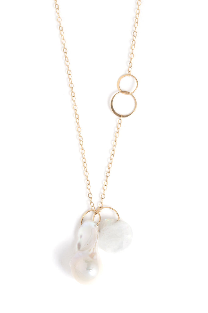 Rainbow Moonstone and Pearl Necklace