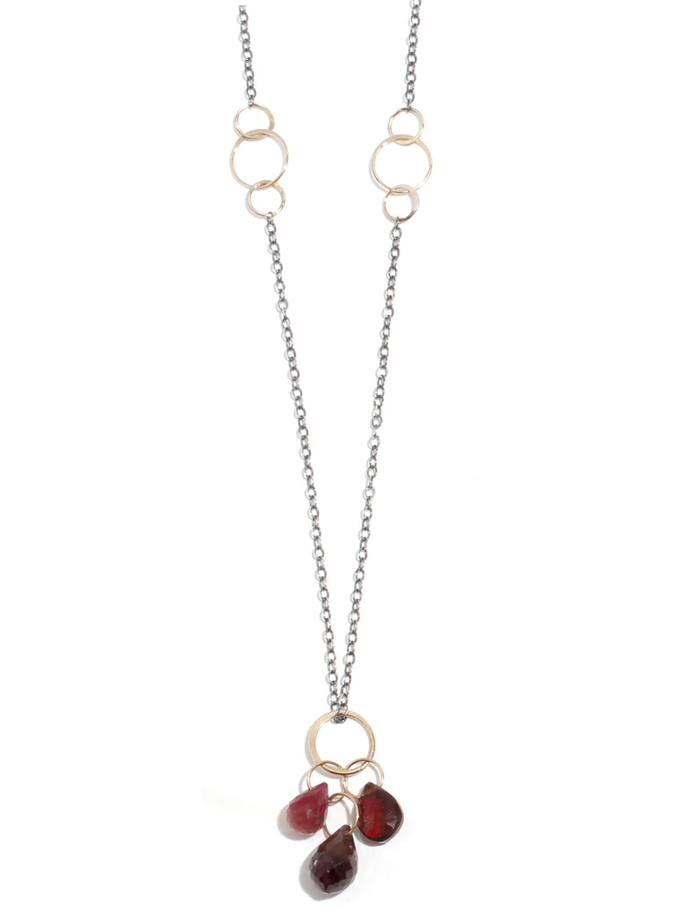 Garnet and Ruby Drop Neckalce - Melissa Joy Manning Jewelry