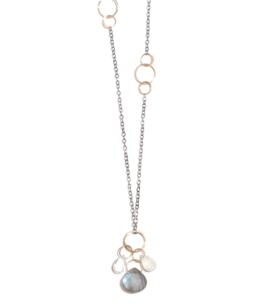 Labradorite and Moonstone Drop Neckalce - Melissa Joy Manning Jewelry