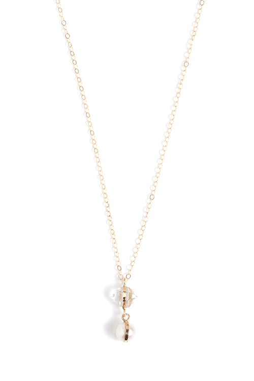 Herkimer and Pearl Drop Necklace - Melissa Joy Manning Jewelry