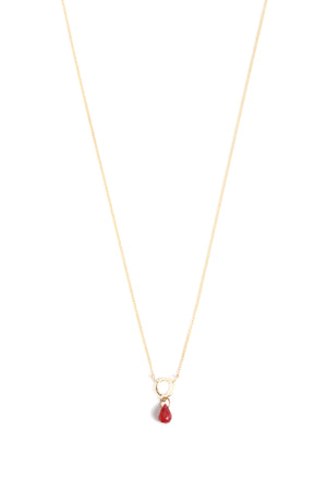 Circle Drop Necklace with Ruby - Melissa Joy Manning Jewelry