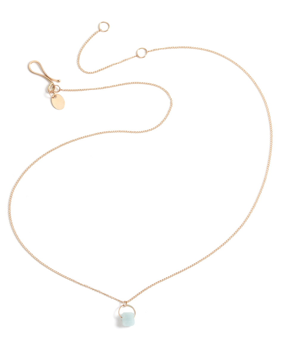 opaque aquamarine single stone necklace