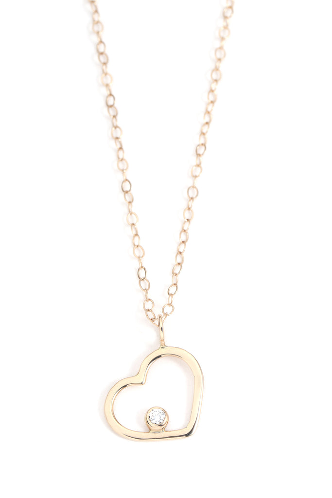 Gold Heart Necklace with White Diamond