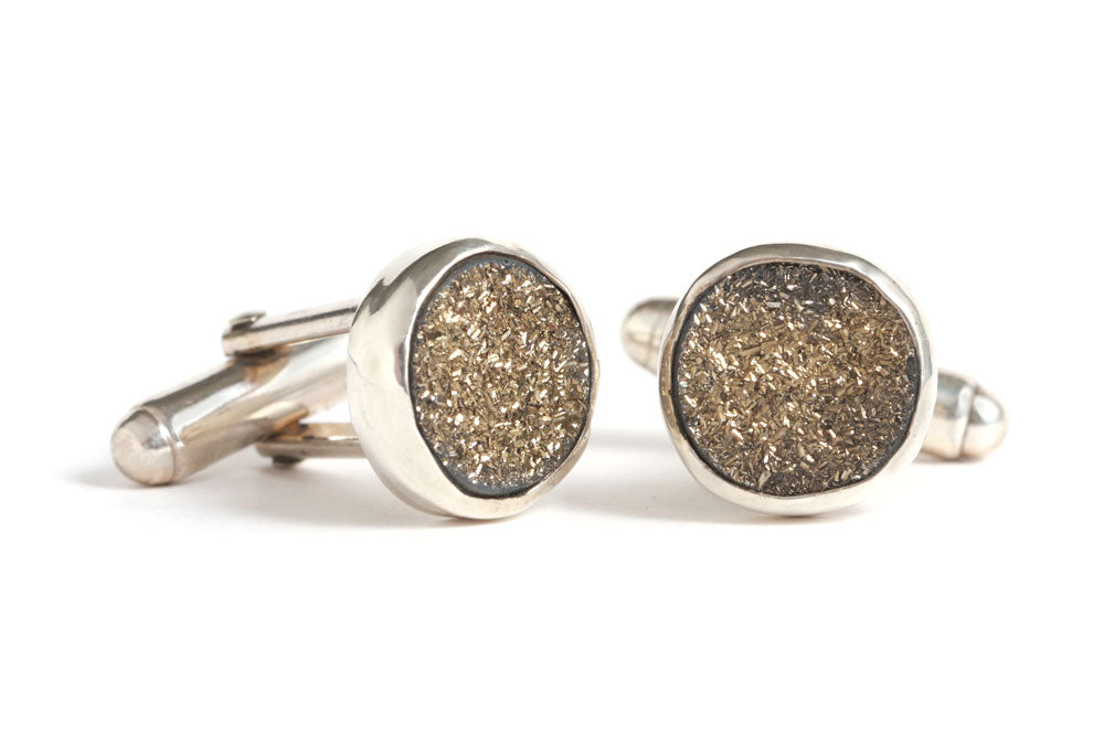 Moonbeam Druzy Cuff Links