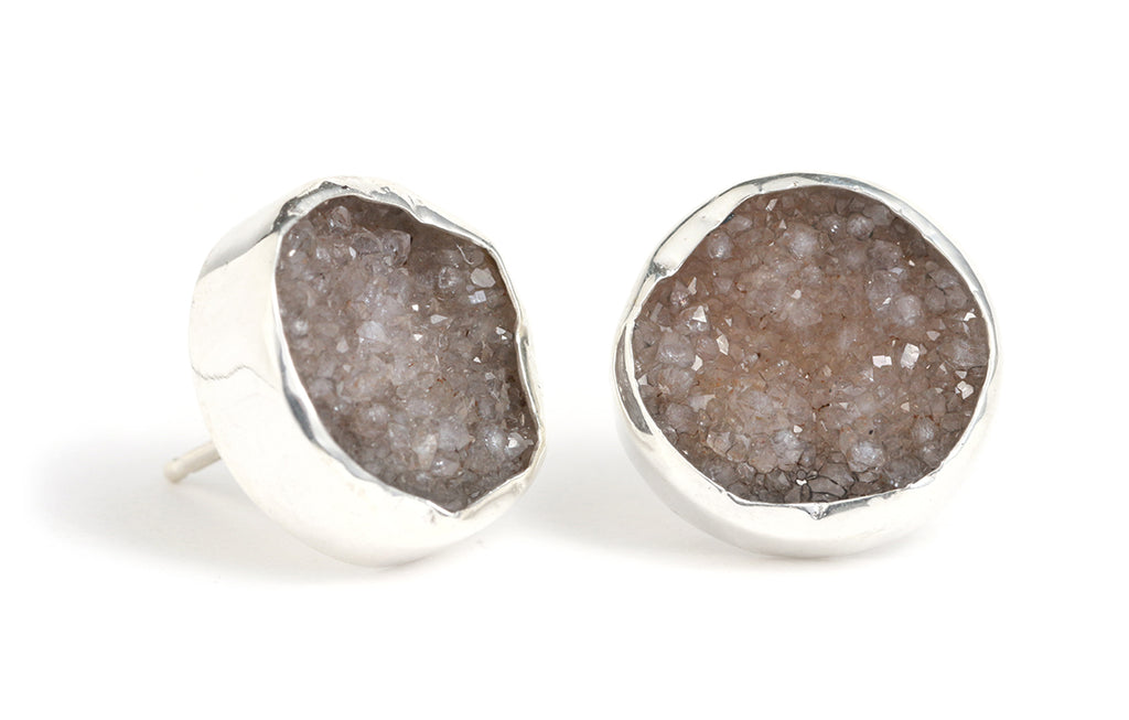 Bezel Set Druzy Stud Earrings