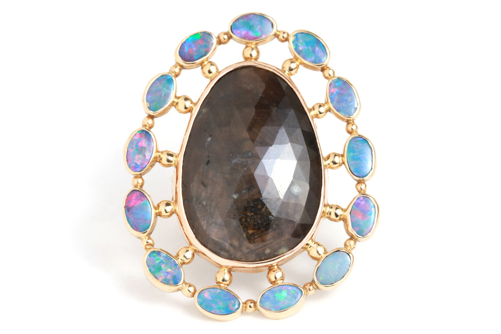 Brown Sapphire and Opal Halo Cocktail Ring - Melissa Joy Manning Jewelry