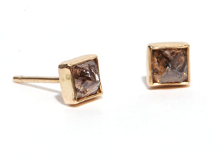 Pyramid Diamond Stud Earrings