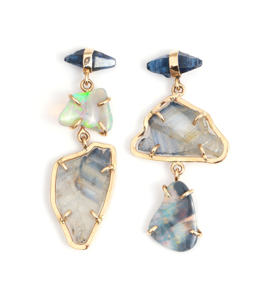 Sapphire Slice and Boulder Opal Three Drop Earrings