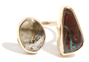Boulder Opal and Labradorite Double Ring - Melissa Joy Manning Jewelry