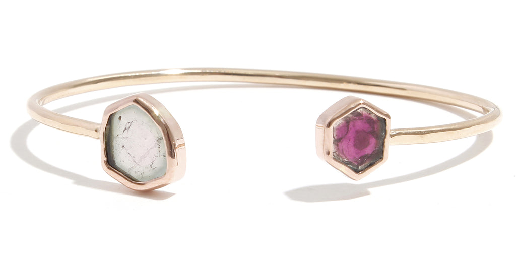 Freeform Watermelon Tourmaline Cuff - Melissa Joy Manning Jewelry