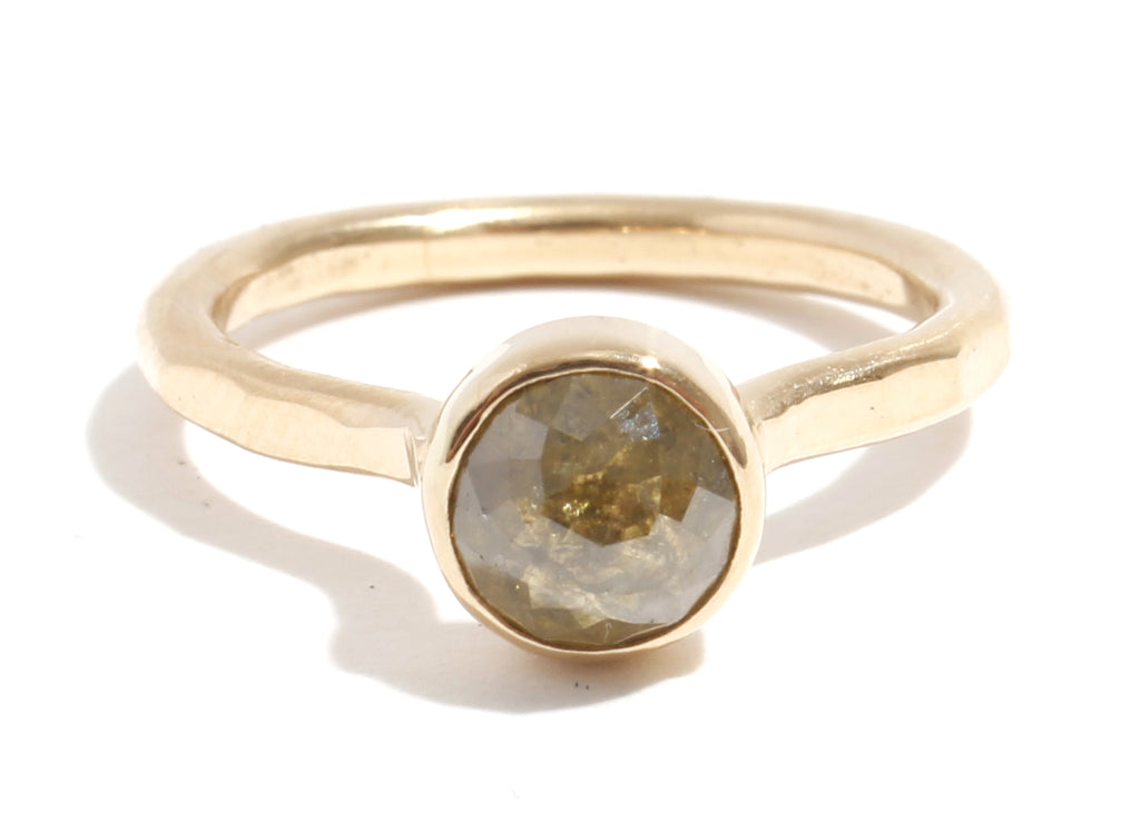 Round Yellow Rosecut Diamond Ring - Melissa Joy Manning Jewelry
