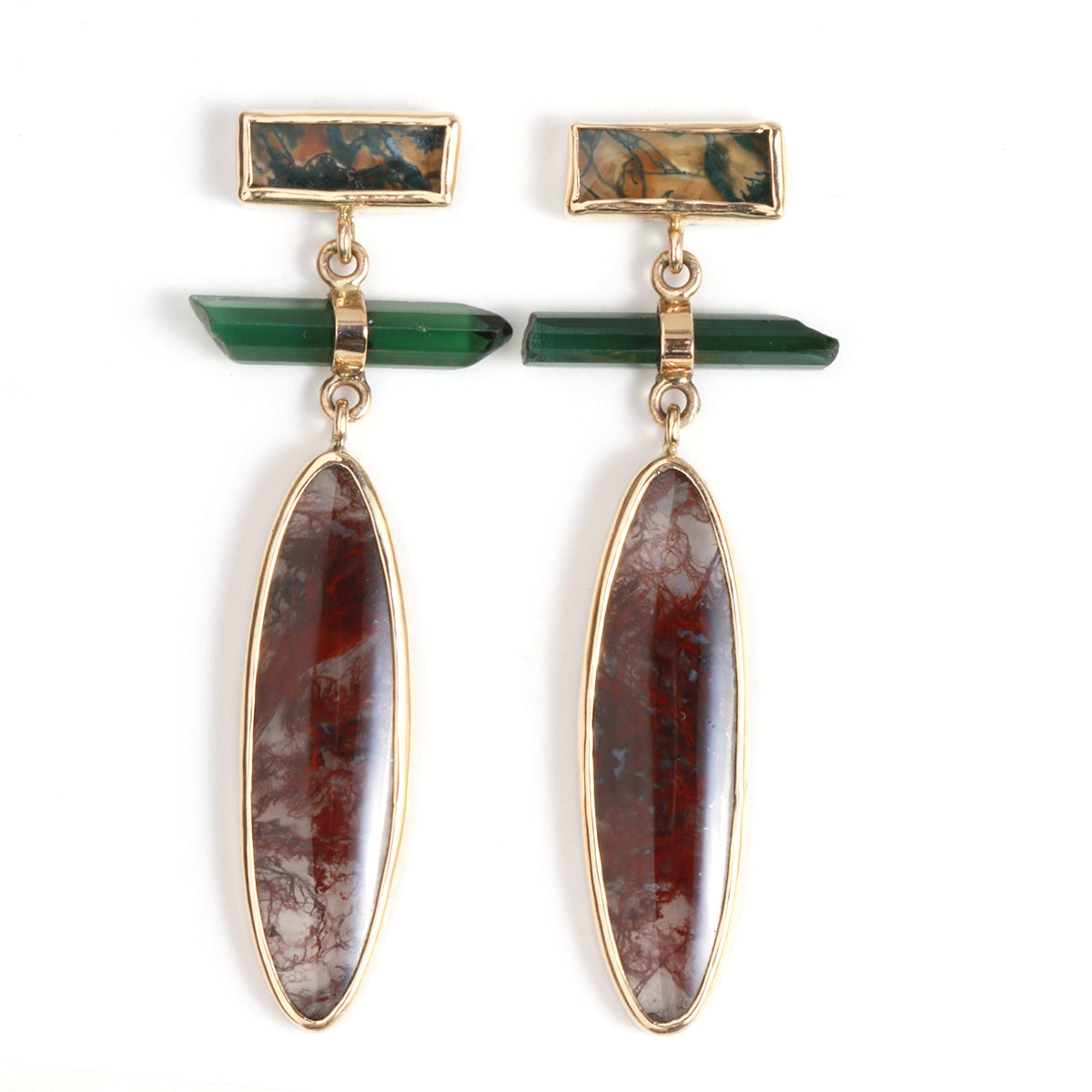 Moss Agate and Tourmaline Drop Earrings - Melissa Joy Manning Jewelry