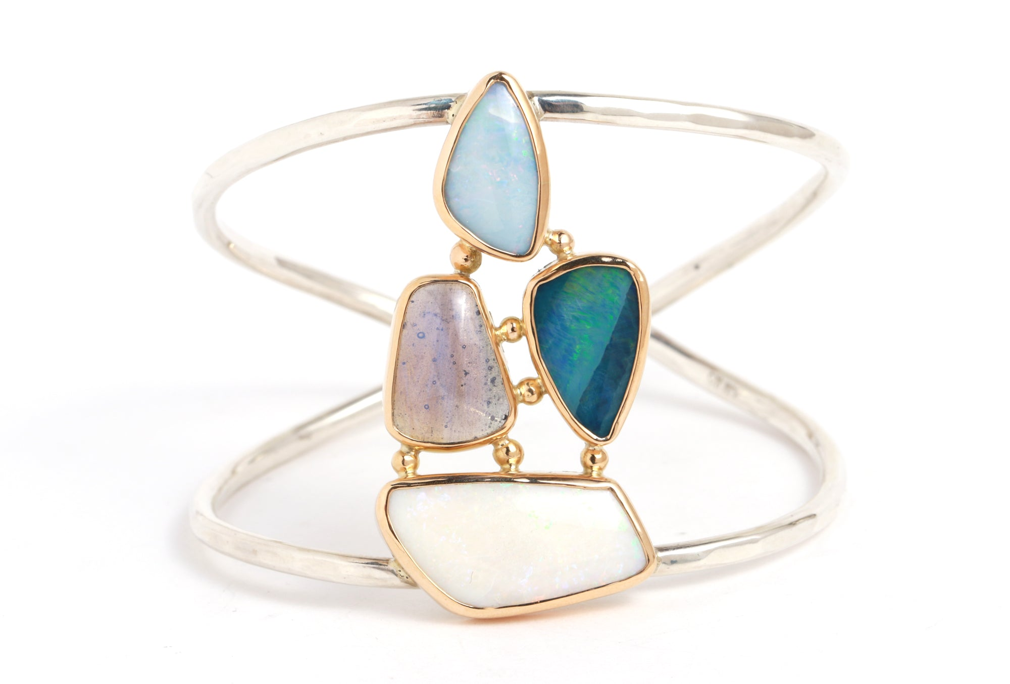 Opal and Leland Blue Multistone Double Cuff - Melissa Joy Manning Jewelry