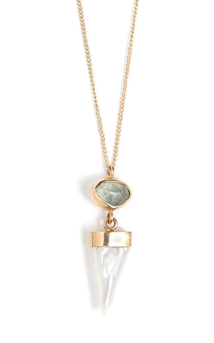 Moss Aquamarine and American Pearl Necklace