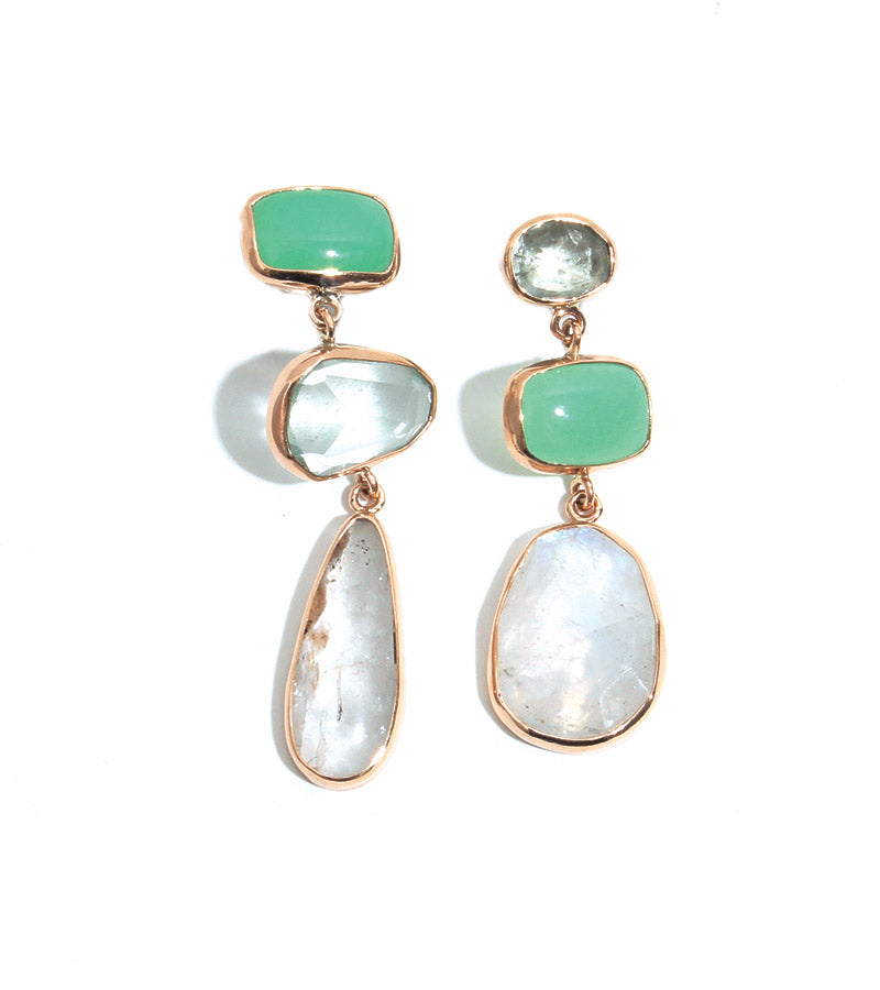 Chrysoprase, Aqua, and Moonstone Drop Earrings - Melissa Joy Manning Jewelry