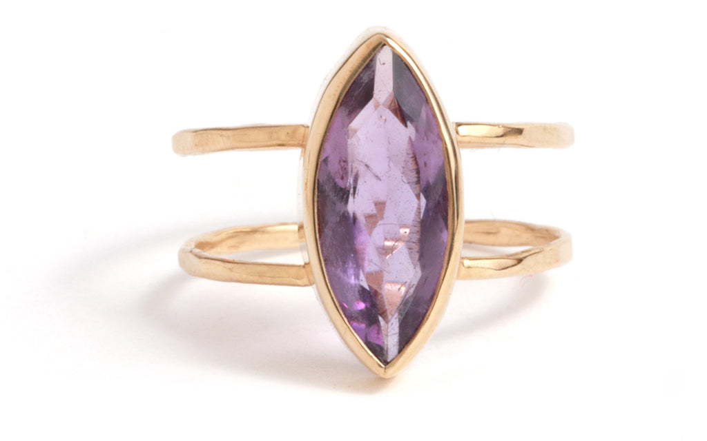 Amethyst Double Band Ring