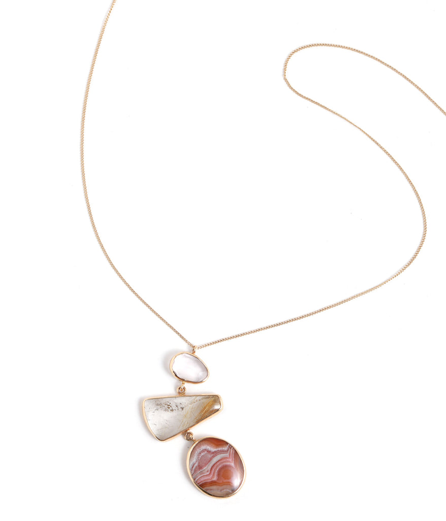 Agate and Quartz Pendant Necklace - Melissa Joy Manning Jewelry