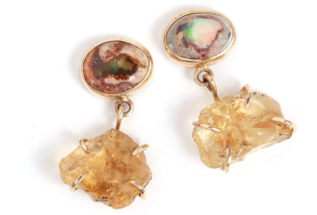 Jelly Opal and Raw Citrine Two Drop Earrings