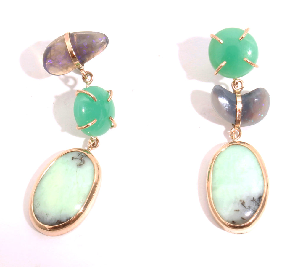Chrysoprase and Opal Drop Earrings - Melissa Joy Manning Jewelry