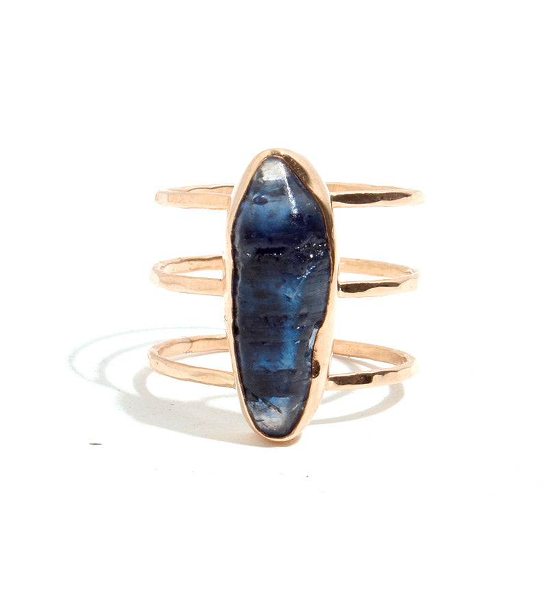 Raw Blue Sapphire Triple Band Ring