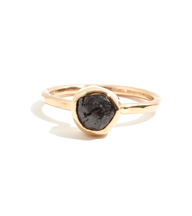Rough Black Diamond Ring