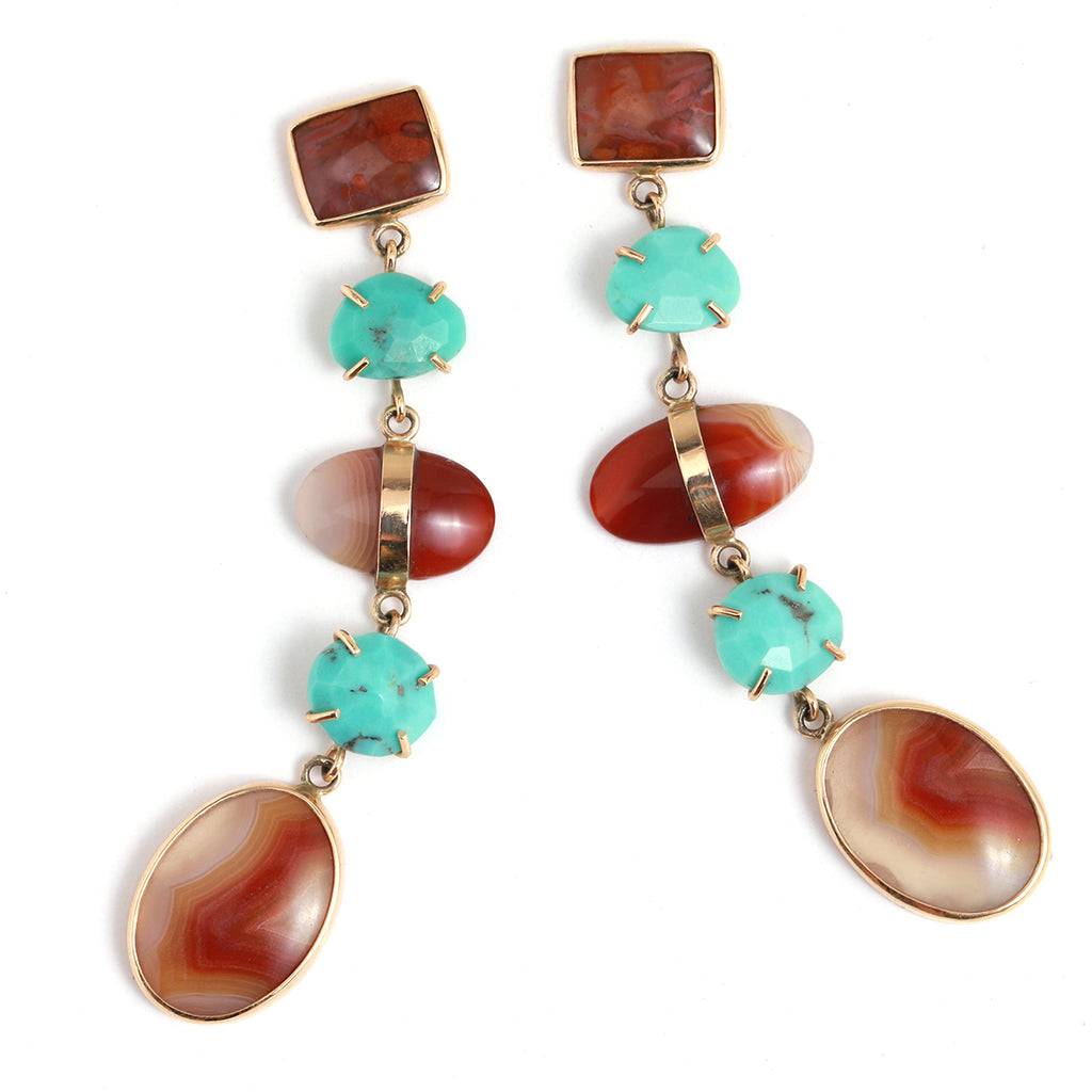 Five Drop Agate and Turquoise Earrings - Melissa Joy Manning Jewelry