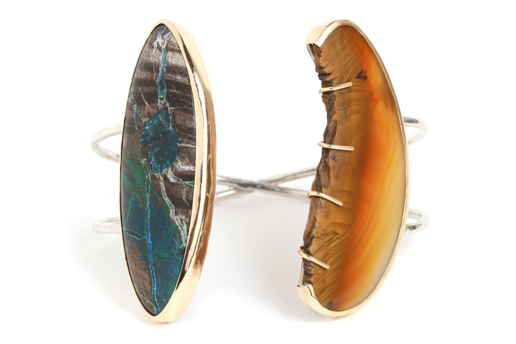 Denditic Agate and Chrysocolla Azurite Malachite Cuff - Melissa Joy Manning Jewelry