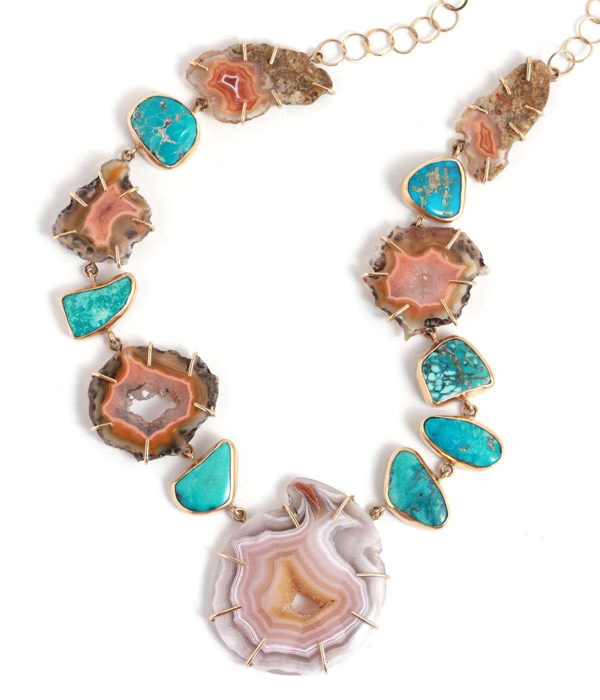 Agate and Turquoise Collar Necklace - Melissa Joy Manning Jewelry