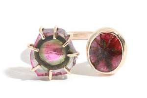 Ruby and Watermelon Tourmaline Double Ring