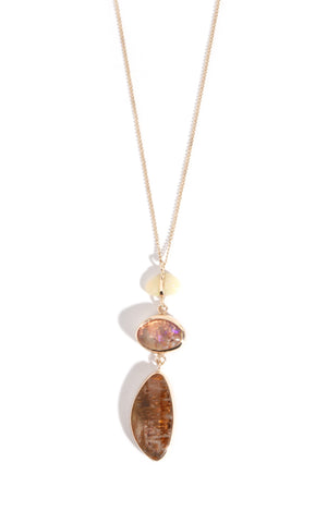 Opal and Cocoxenite Three Drop Necklace