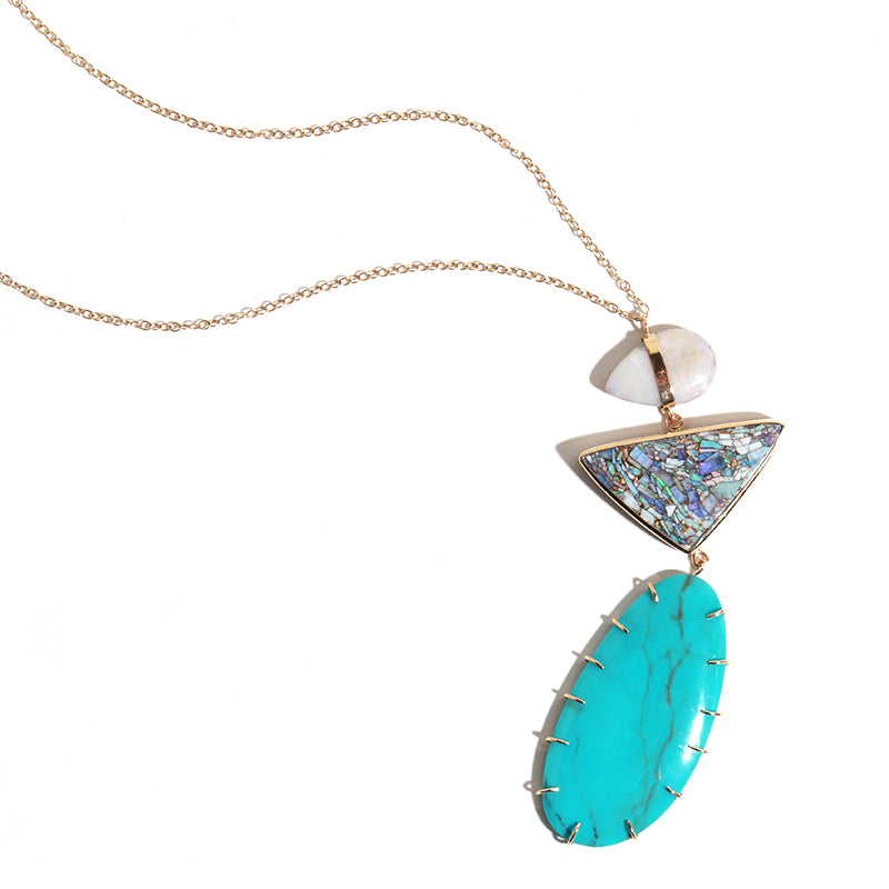 Opal, Matrix, and Turquoise Three Drop Necklace - Melissa Joy Manning Jewelry