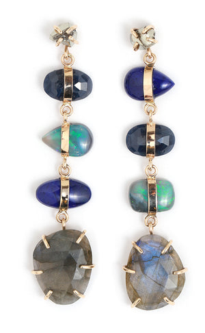 Sapphire, Lapis, Opal, Labradorite, and Pyrite Drop Earrings - Melissa Joy Manning Jewelry