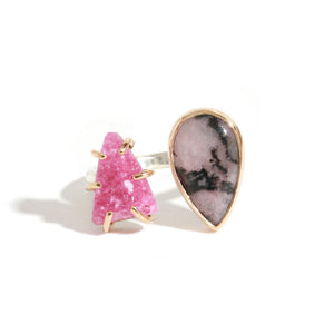 Cobalto Calcite and Rhodochrosite Open Faced Ring - Melissa Joy Manning Jewelry